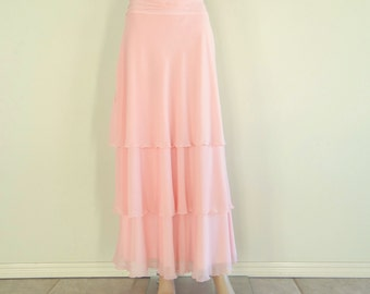Baby Pink Maxi Skirt. Baby Pink Long Bridesmaid Skirt. Floor Length Skirt. Chiffon Evening Skirt.