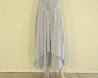 Light Grey Maxi Skirt. Long Evening Skirt. Chiffon Floor Length Skirt. Light Grey Bridesmaid Skirt.