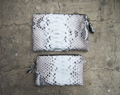 Set of Two Natural Python Snakeskin Exotic Leather Zippered Leather Coin Purse