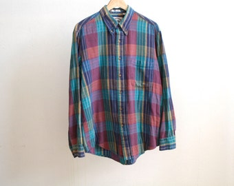 NIRVANA faded plaid SOFT flannel shirt