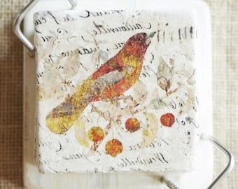 Bird Coaster Set- Bird Gift, Bird Decor, Bird Tile, Autumn Decor, Warm Color Decor, Bird Coaster, Gardener Gift, Bird Lover Gift, Tile Print