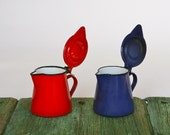 Pair of Italian blue and red 1950s enamelware jugs