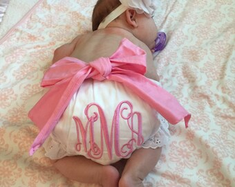 Baby's girls first hospital pictures-Eyelet Ruffle Monogrammed Diaper Cover removable bow - Baby Bloomers -Great Gift! So dainty!!