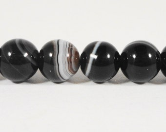 "15"" Strand Black Agate Gemstone Beads 6mm Round Smooth Striped Black Onyx Agate Stone Beads on a Full 15 Inch Strand with 64 Beads"