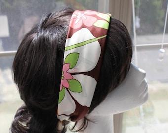 70s Flower Pink, Brown, Lt Green and White scarf w Orange Border - Made in Japan RN# 24409 Vintage 1970s Scarf Acetate by Jane Phelan