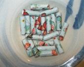 Blue Butterflies Handmade Paper Tube Beads 1 Inch: Set of 20