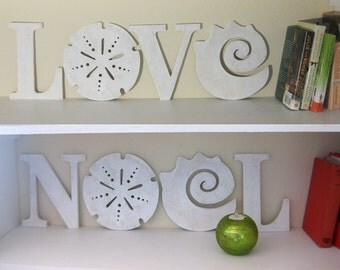 LOVE NOEL combo, 5 LETTERS total, Christmas, Beach wedding, wedding gift, valentine, anniversary, romance, coastal, wood sign, shabby chic