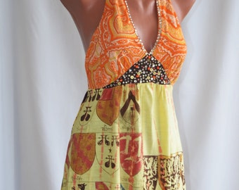 Vintage Sequined Halter/Tunic, size S-M
