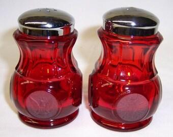 Fostoria Glass Ruby Red COIN SALT and PEPPER Shakers, Original Lids