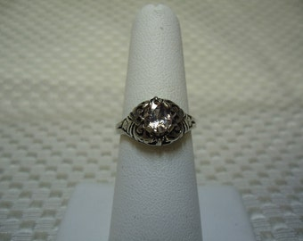 Oval Cut Pink Sapphire Ring in Sterling Silver   #1534