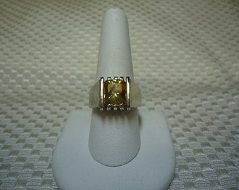 Emerald Cut Citrine Ring in Sterling Silver