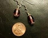 Holiday Earrings Purple Oval Glass Ornaments