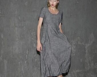 Dress, Linen Dress, midi dress, pockets dress, gray dress, womens dresses, causal dress, long linen dress, grey linen dress  C647