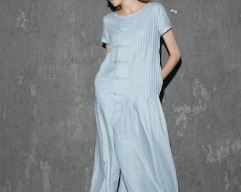 Blue summer dress, tunic dress,plus size dress,linen dress,midi dress women, short sleeve dress, pleated dress  C640