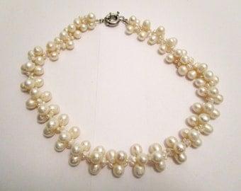 Vintage Stunning Genuine Freshwater Pearl Bridal Formal Necklace