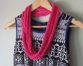 Hot Pink Scarf Necklace  .. Pink Infinity Scarf .. Cotton Scarf Necklace .. Valentines Day Scarf .. Infinity Scarf .. Bright Pink