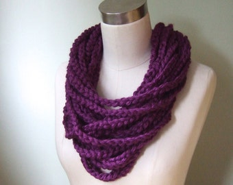 Purple Scarf Necklace .. Purple Infinity Scarf .. Eternity Scarf .. Chain Scarf .. Crochet Chain Scarf .. Trend .. DottieQ Scarf