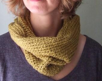 Khaki Scarf / Hygge / Infinity Scarf / Organic Clothing / Organic Cotton Scarf / Crochet Scarf