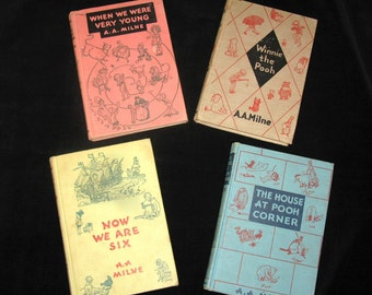 Children's Classics Set of 4 Winnie the Pooh books by A A Milne