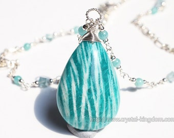 Amazonite with Apatite and Aquamarine Necklace handmade DIY 925 Silver