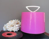 Vintage Disk GO Case HOT Pink 1960's Record Case for 45 rpm Plastic Holder Tote Bright Color