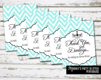 Breakfast at Tiffany's -  Shower Thank you Tags - Instant Download