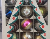 Box of  12 vintage ornaments in original box