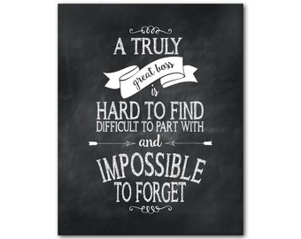 CANVAS Wall Art - A truly great boss is hard to find difficult to part with and impossible to forget - gift for boss - retirement gift