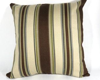 Brown stripe Zipper Pillow Cover  20x20