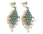 SALE Stunning Long Zuni Sterling Silver & Turquoise Petit Point Dangle Earrings
