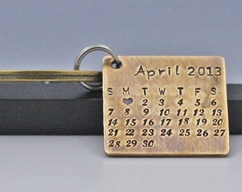 Calendar Key Chain Personalized Anniversary Key Ring Hand Stamped Save The Date Calendar  New Baby Keyring Personalized Jewelry