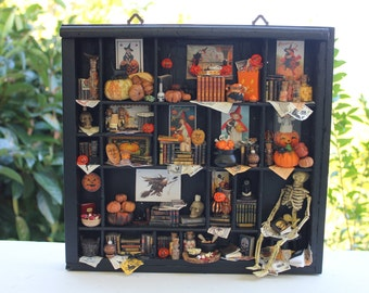 "Dollhouse miniature thematic library ""Trick or treat?""  OOAK"