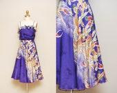 Vintage Purple Cascading Floral Print Dress  / Ruffled Spaghetti Strap Sundress / Full skirt / X-Small