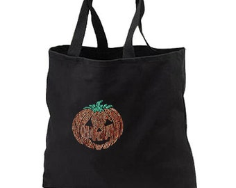 Sequin Halloween Pumpkin New Tote Bag Gifts Events Trick Or Treat Loot