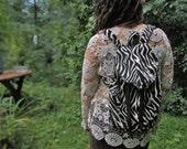 SavannaStripes~Drawstring BAckpack~upcycled daypack, bookbag, zebra print...