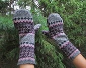 Mittens~upcycled Wool with Fleece lining, Woman's Large, COZY mittens
