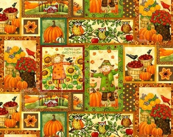 Grateful Harvest Fall fabric with scarecrows and pumpkins Yardage