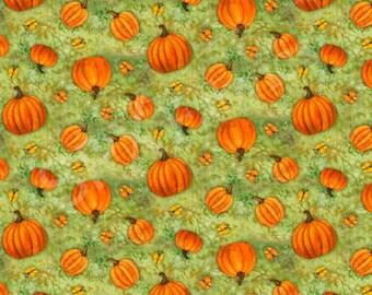 Pumpkins on green fabric - yardage