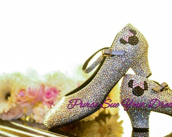 custom crystal rhinestone disney minnie mouse bridal heels disneyland disney world bride wedding