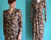 Vintage 90s Maxi Dress with Sleeves - Long Sleeve Shirt Dress - Brown Leopard Print Midi Dress - Button Front Long Rayon Dress - Size Medium