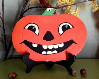 Vintage Halloween Jack O Lantern Smiling Pumpkin Face HE Luhrs Die Cut Embossed Collectible 1950s Old Beistle Halloween Decor Display