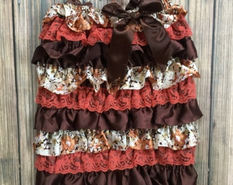Fall Romper/ Autumn Leaves/ First Birthday/ Fall Pictures/ Pageant/Brown Romper/Fall Birthday/FlowerGirl Romper/ThanksGiving/Holiday Romper