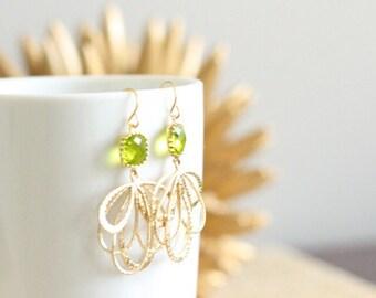 Gold Hoops Peridot Green Chandelier Earrings Wedding Bridesmaid Bridal Party