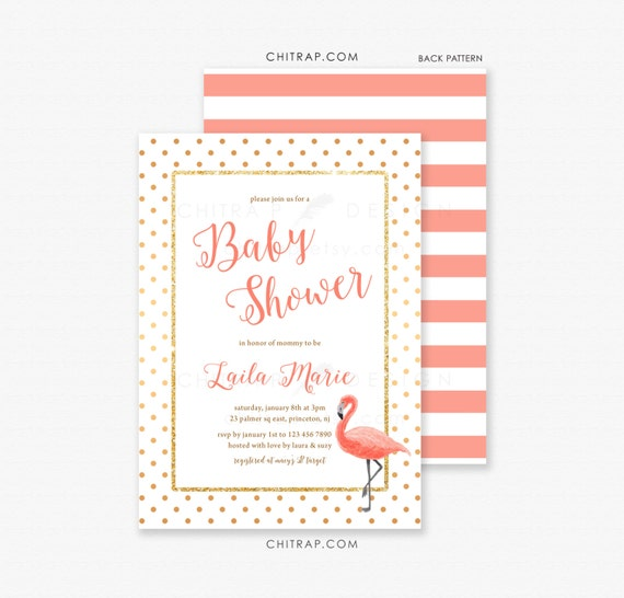 flamingo baby shower invitations printed bridal party 1st birthday
