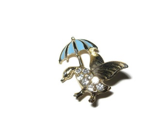 1970s  Brooch,  Duck with Clear Rhinestone Body with Umbrella (Walking In the Rain)