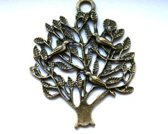 2 Whimsical Antique Bronze Trees with Birds Nesting Charms/Pendants - Double Sided