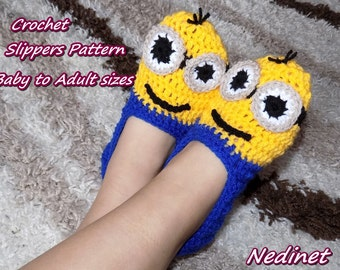 Crochet PATTERN Minion slippers pattern, crochet minion pattern, Baby to Adult sizes, INSTANT DOWNLOAD pattern, Christmas Gift Ideas