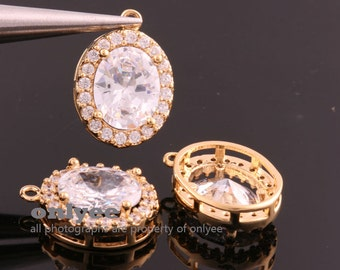 2pcs-17mmX12mmX6mmBright Gold plated (clear)LUX Cubic zirconia Oval Pendants Lead Free (K869G)