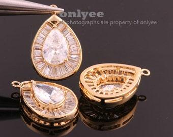 2pcs-22mmX15mmX6.5mmBright Gold plated (clear)LUX Cubic zirconia Teardop Pendants (K870G)