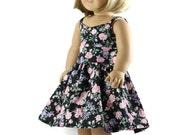 18 inch doll dress, AG doll dress, AG doll clothes, 18 inch doll clothes, Black pink flower dress